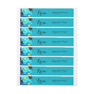 Margarita de la aguamarina etiquetas envolventes de dirección