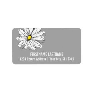 Margarita de moda con gris y amarillo etiqueta de dirección