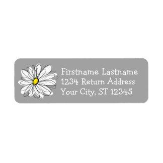 Margarita de moda con gris y amarillo etiqueta de remite