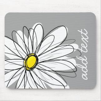 Margarita de moda con gris y amarillo tapete de ratón