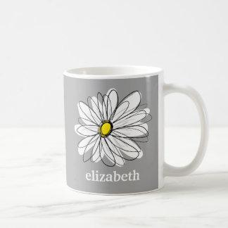 Margarita de moda con gris y amarillo taza clásica