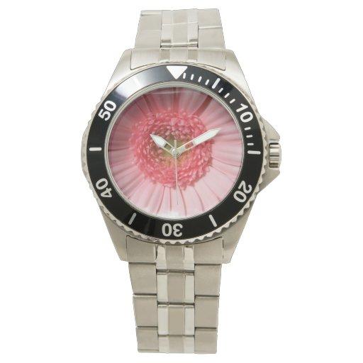 Margarita del Gerbera del rosa en colores pastel Relojes De Mano