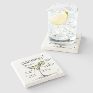 Margarita Drink Recipe Design Stone Beverage Coaster