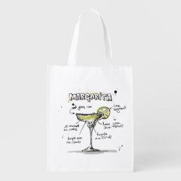 Margarita Drink Recipe Design Grocery Bag