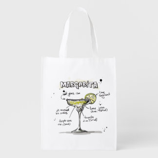Margarita Drink Recipe Design Grocery Bag