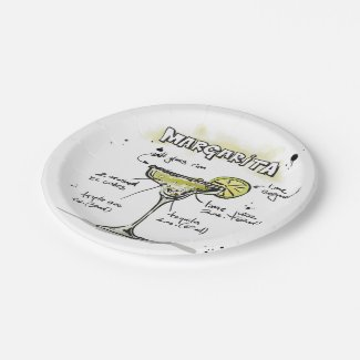 Margarita Drink Recipe Design Paper Plate