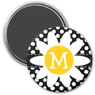 Margarita en lunares blancos y negros imán redondo 7 cm