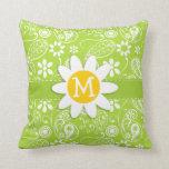 Margarita en Paisley verde cítrica; Floral Cojin
