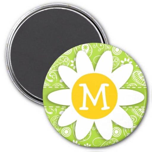 Margarita en Paisley verde cítrica; Floral Imán