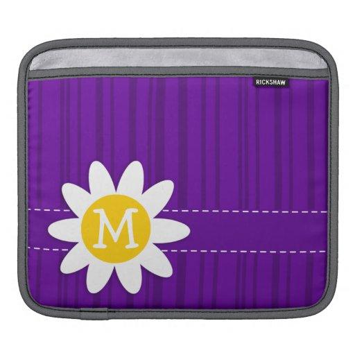 Margarita en rayas verticales violetas oscuras funda para iPads
