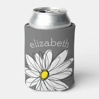 Margarita floral de moda con nombre de encargo enfriador de latas