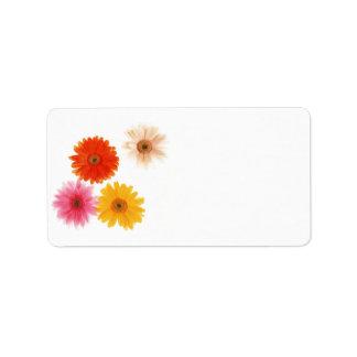 Margarita flotante de la flor de la impresión de etiquetas de dirección