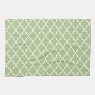 Margarita Green And White Moroccan Trellis Pattern Hand Towels