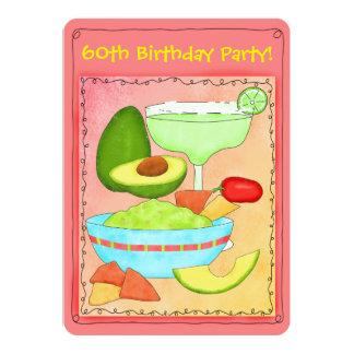 Margarita Guacamole 60th Birthday Party Invitation