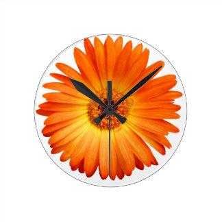 Margarita hermosa del Gerbera del naranja y del Reloj Redondo Mediano