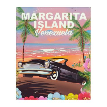 Beach Themed Margarita Island - Venezuela travel poster Acrylic Wall Art