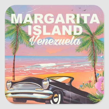 Beach Themed Margarita Island - Venezuela travel poster Square Sticker