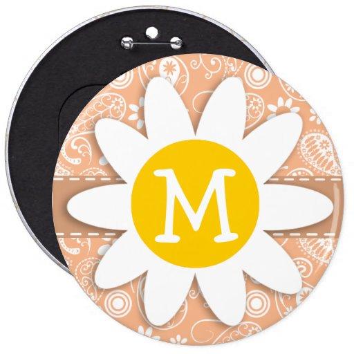 Margarita linda; Color Paisley del albaricoque; Fl Pin Redondo 15 Cm