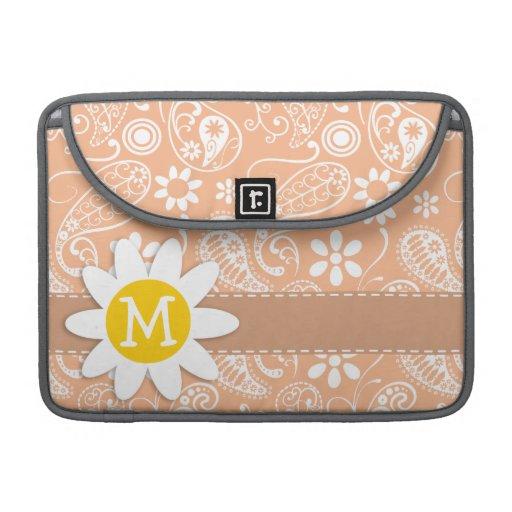 Margarita linda; Color Paisley del albaricoque; Funda Para Macbook Pro