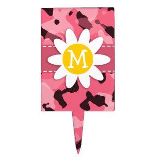 Margarita linda en el rosa Camo del borde; Camufla Figuras De Tarta
