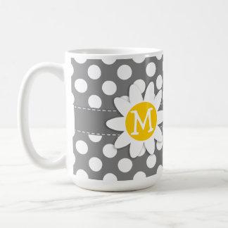 Margarita linda en lunares gris oscuro tazas