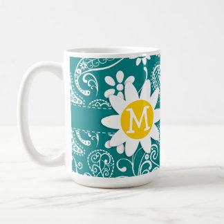 Margarita linda en Paisley ciánica oscura Floral Tazas De Café