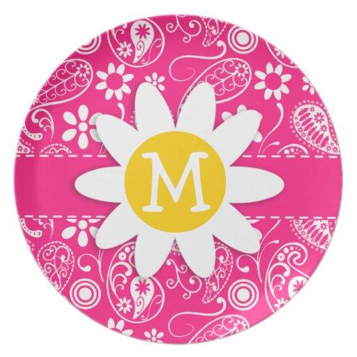Margarita linda en Paisley de color rosa oscuro Platos Para Fiestas