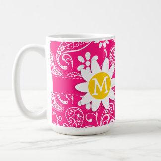 Margarita linda en Paisley de color rosa oscuro Tazas De Café