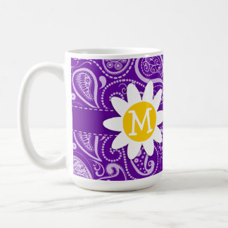 Margarita linda en Paisley violeta oscura Tazas