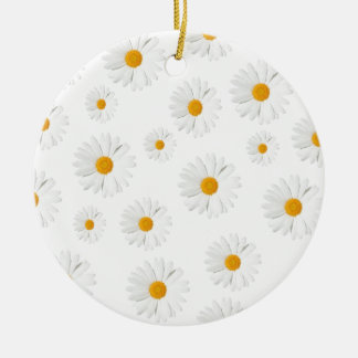 Margarita, margarita - diseño floral precioso adorno navideño redondo de cerámica