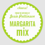 Margarita Mix Bottle Label Template Classic Round Sticker