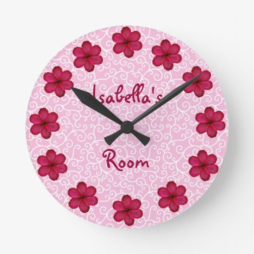 Margarita personalizada rosa reloj redondo mediano