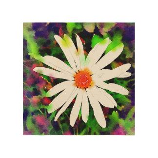 Margarita pintada acuarela impresiones en madera