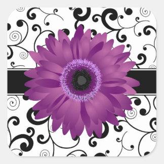 Margarita púrpura del Gerbera con el sello negro Pegatina Cuadrada