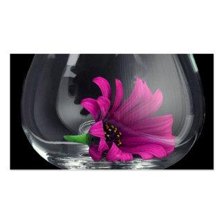 Margarita púrpura en vidrio tarjetas de visita