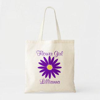 Margarita púrpura oscura con el texto adaptable bolsa tela barata