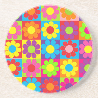 Margarita retra del flower power del estallido posavasos personalizados