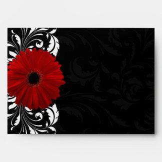 Margarita roja, blanco y negro del Gerbera de la Sobres