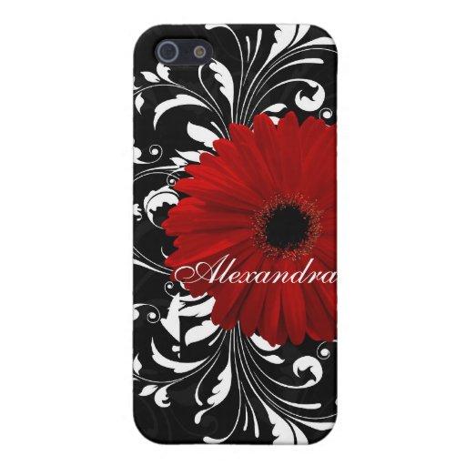 Margarita roja, blanco y negro del Gerbera de la v iPhone 5 Coberturas