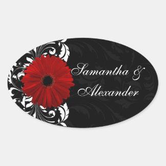 Margarita roja, blanco y negro del Gerbera de la v Colcomanias De Oval Personalizadas