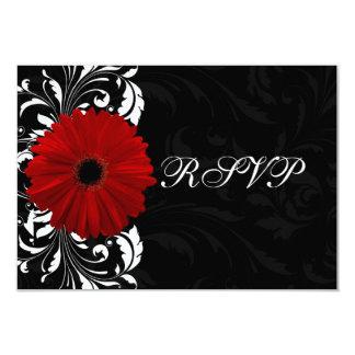 Margarita roja, blanco y negro RSVP del Gerbera de Comunicado Personalizado