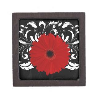 Margarita roja brillante del Gerbera en negro Cajas De Joyas De Calidad