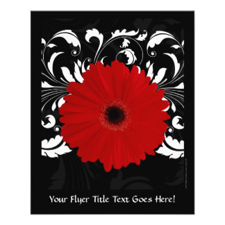 Margarita roja brillante del Gerbera en negro Tarjetón