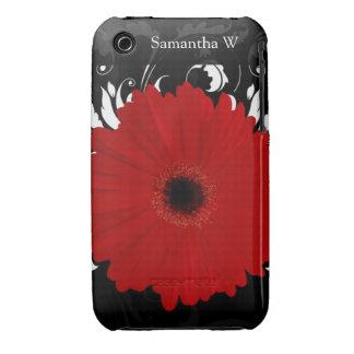 Margarita roja brillante del Gerbera en negro iPhone 3 Case-Mate Cárcasas
