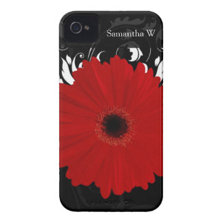 Margarita roja brillante del Gerbera en negro Case-Mate iPhone 4 Cobertura
