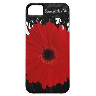 Margarita roja brillante del Gerbera en negro iPhone 5 Case-Mate Cobertura