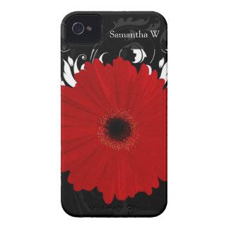 Margarita roja brillante del Gerbera en negro iPhone 4 Cárcasas