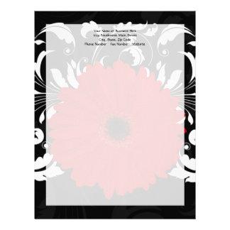 Margarita roja brillante del Gerbera en negro Membrete A Diseño
