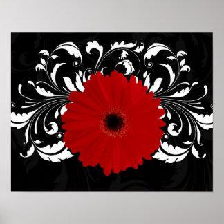 Margarita roja brillante del Gerbera en negro Poster