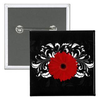 Margarita roja brillante del Gerbera en negro Pin Cuadrada 5 Cm